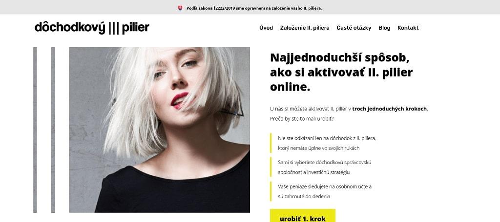 Martina Nováková - tvorba webstrránok - referencie - Dôchodkový pilier - www.dochodkovypilier.online_